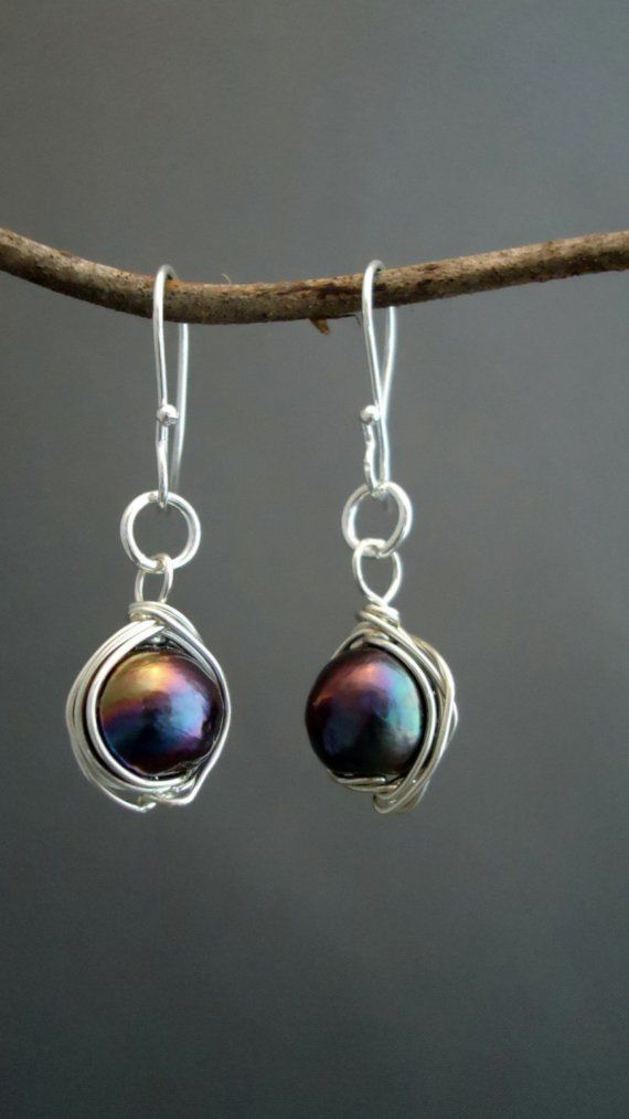 Black pearls wrapped in sterling silver