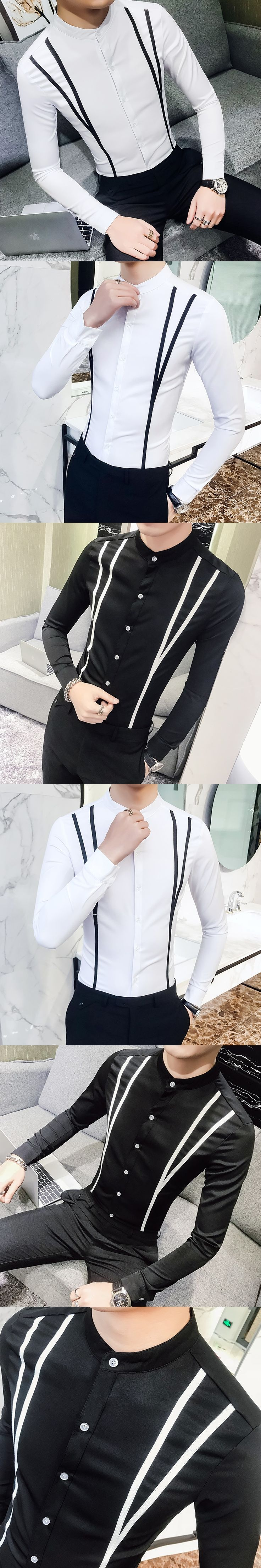 New 2018 Spring Dress Shirts High Quality Long Sleeve Mens Casual Shirt Men Plus Size Slim Fit Front Stripe Social Shirts Male