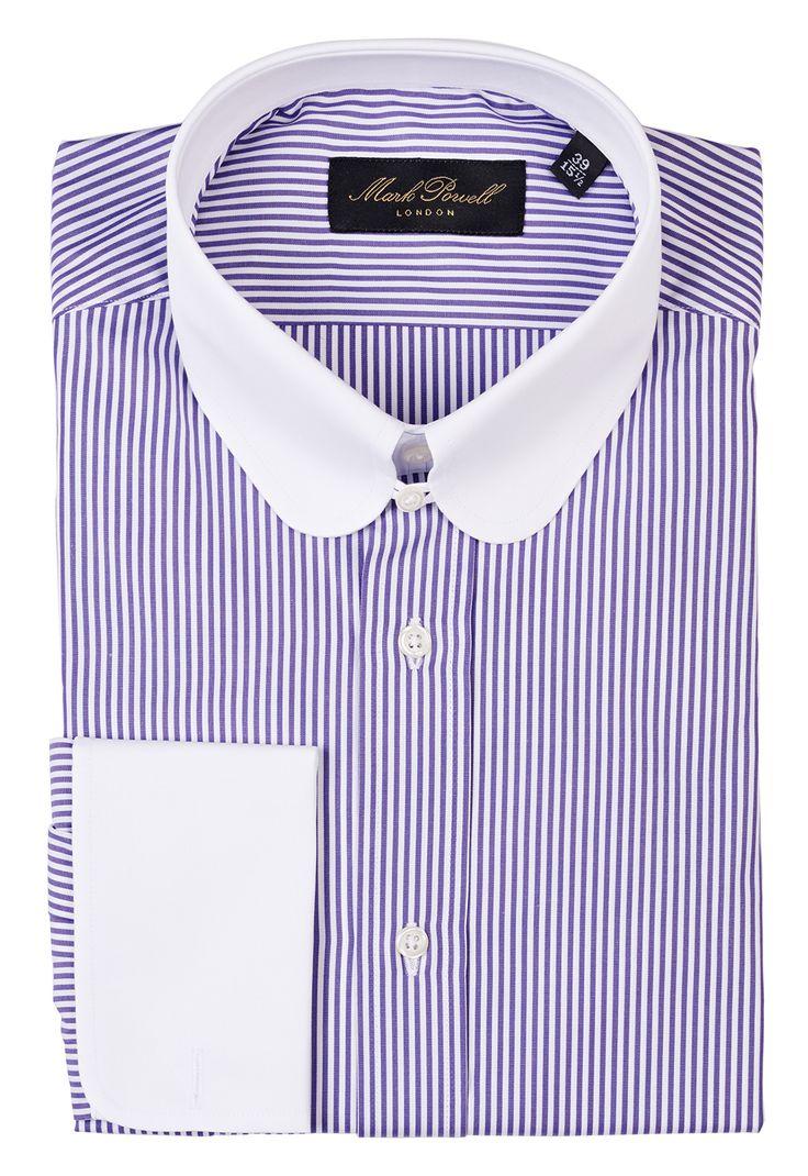 Round tab collar shirt stripe purple white mark powell for Mens tab collar dress shirts