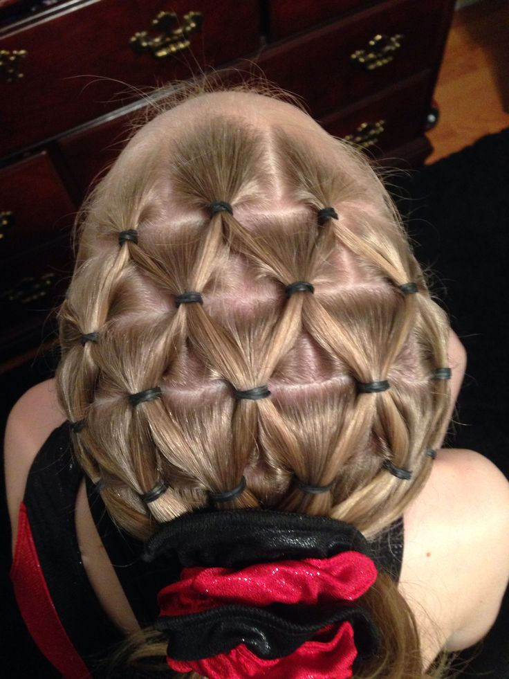 Gymnastics hairstyle pineapple
