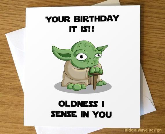 Star Wars Birthday Card Yoda Birthday Card Yoda Greeting Card Star Wars Greeting Card Star Wars Yoda Birthday Card Cool Birthday Cards Funny Birthday Cards Star Wars Cards
