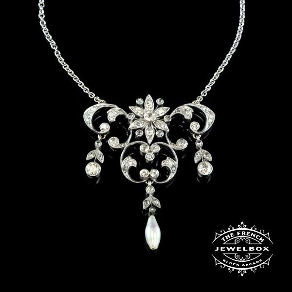 Belle Epoque Diamond Lavalier This beautiful openwork lavalier/pendant with a pearl drop has approximately 1ct of diamond and set in 18ct white gold.