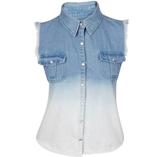 Gwen Denim Sleevless Shirt ($6.34) ❤ liked on Polyvore featuring tops, shirts, blusas, camisas, shirt top, studded shirt, sleeveless tops, fray shirts and blue top
