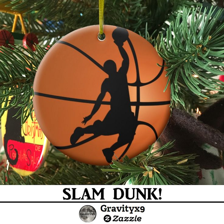 Slam Dunk Basketball Player Ceramic Ornament by #Gravityx9 Designs at Zazzle. SLAM DUNK! Nice gift for basketball players, coaches, athletes and sports fans. This basketball player silhouette on a basketball background ornament is available in several shapes and styles. Add text to personalize, too! #Sports4you #Basketballornament #coachgift