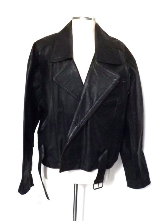 Vintage Black Leather Motorcycle Jacket Its in excellent condition, like new. Size Mens Medium (would also fit a Womens Large) Thanks for stopping by! www.facebook.com/pages/PassionFlowerVintage/237850299611432