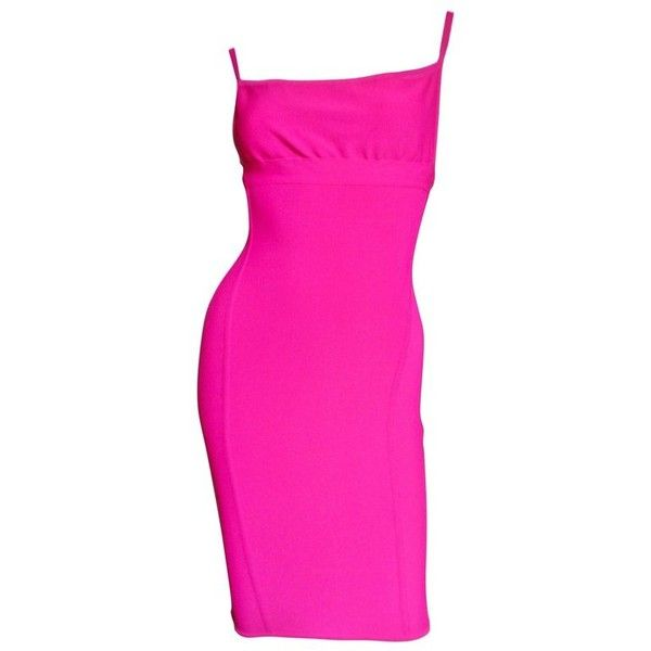 Preowned Herve Leger 1990's Hot Pink Bodycon Dress ($975) ❤ liked on Polyvore featuring dresses, cocktail dresses, pink, pink spaghetti strap dress, hot pink cocktail dress, stretch bodycon dress, pink bandage dress and pink cocktail dress