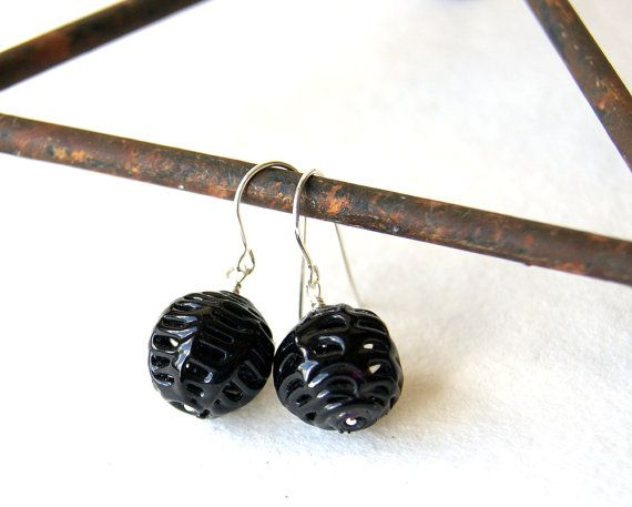 Black Spider Web Earrings vintage glass spiderweb by WearYourWild