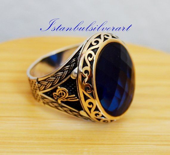 mens ring,blue mens gift,father gift turkish jewelry,mens ring silver,handmade jewelry,mens ring men jewelry