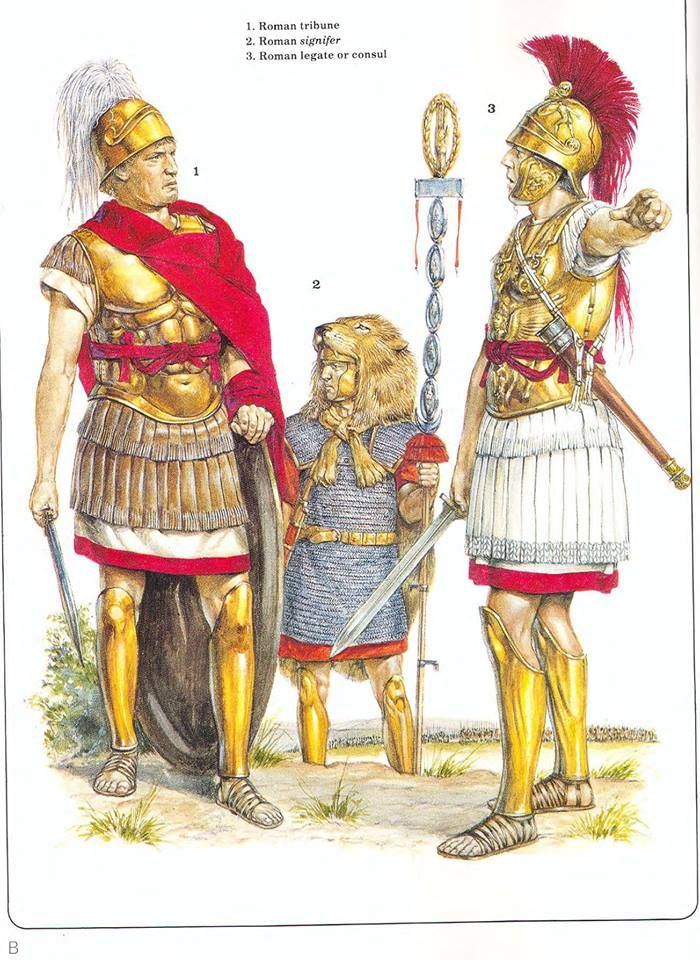 1:Roman tribune.2:Roman signifer.3:Roman legate or consul.