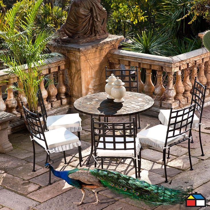 Juego #terraza 5 piezas, mesa cubierta de mármol #jardin