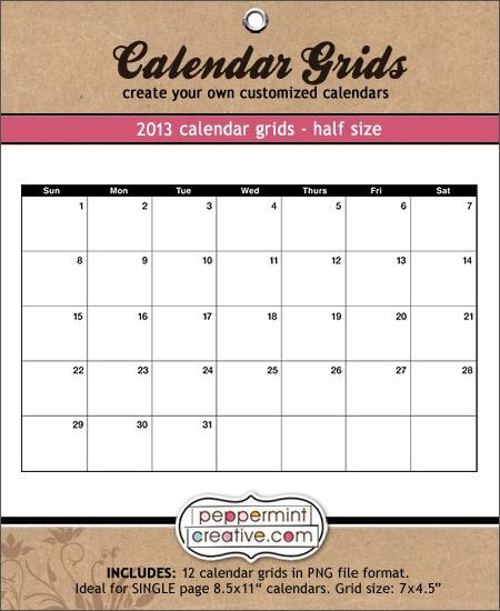 2013 calendar grids half page