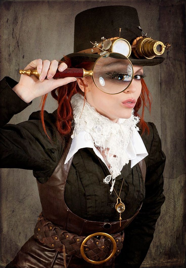 steampunk, funky, steam punk, edgy, photoshoot, photo, top hat, looking glass, red hair, lace collar, art, edgy, fashion shoot, steam punk, gypsy