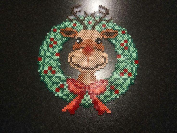 Rudolph Christmas wreath perler beads by Perlerwonders