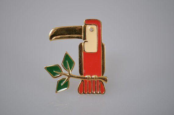 Figural Tucan Bird Brooch Red Glass Eye Sterling Silver
