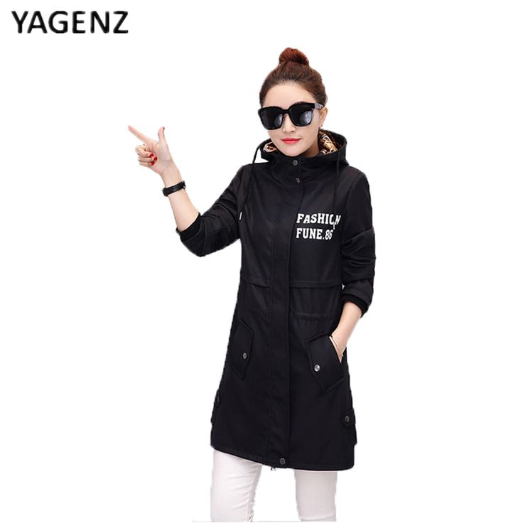YAGENZ Spring Black Long Hooded Coat Women Clothes 2017 Autumn Women Casual Fashion Windbreaker Large Size Trench Coat For Women