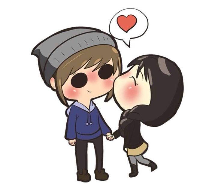 Cute chibi scene anime couple