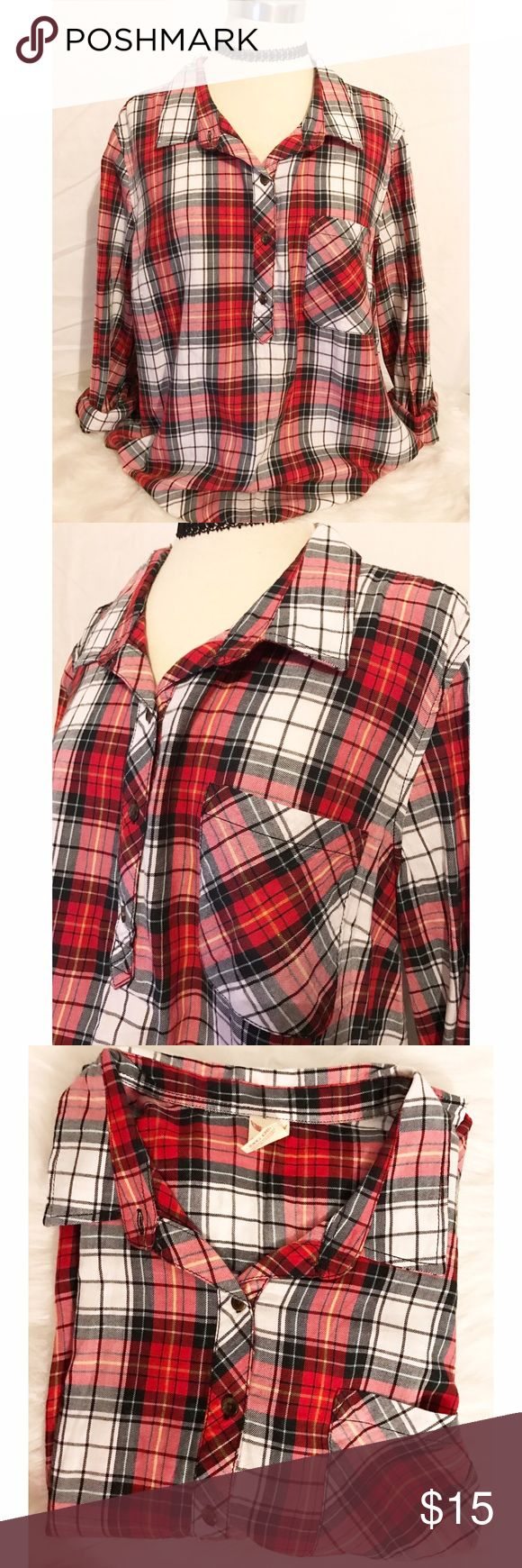 Faded glory silky flannel Never worn { no tags, I have a bad habit of taking them off soon as I get an item } soft silky flannel. Pocket on left side, ❤️ Faded Glory Tops Blouses