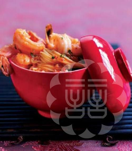 Hot Chili Prawns w/Yellow Shi Noodles. Looks delish! (Ching-He Huang Chinese Cooking)Chinese Cuisine, Chinese Cooking, Chilis Prawn, Chinese Asian Food, Shy, Yellow, Chilli Prawn, Chinese Food, Ching He Huang Recipes