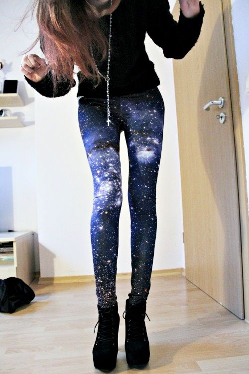 cute galaxy tights leggings style indie scene punk