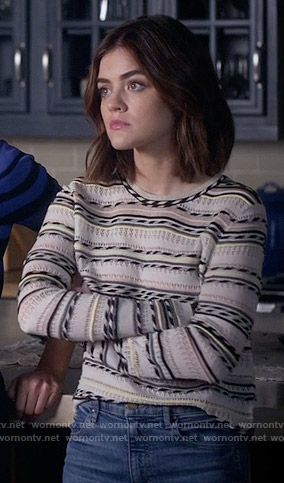 Aria's striped sweater on Pretty Little Liars.  Outfit Details: https://wornontv.net/59461/ #PLL