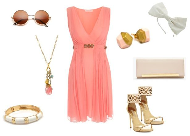 Coral Pink outfit perfect for a summer wedding. Paired with vintage-inspired jewelry.