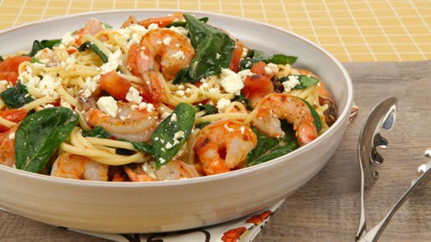 Shrimp and Feta Linguine with Charred Tomato Vinaigrette
