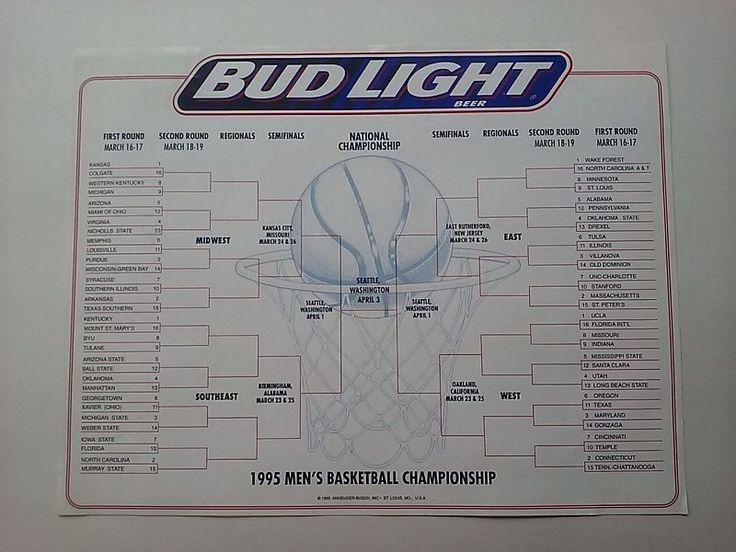 Bud Light Beer Mens Basketball Championship Playoff Bracket Sheet Unused 1995 #budweiser