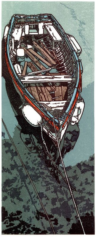 """""""This is amazing work"""" ~ M Forgotten Mooring ~ Linocut by H.J. Jackson"""