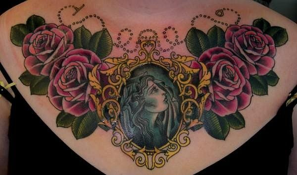 cameo chest tattoo | Ink It Up Trad Tattoos | I've watched for tattoos tagged in your FAQ ...Tattoo Ideas, Cameo Tattoo, Chest Tattoo, Tattoo Artists, Body Art, Chest Piece, De Sabe, Rose Tattoo, Tattoo Ink