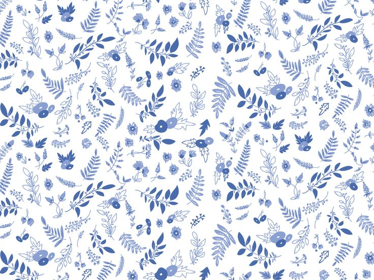 Blue white floral botanical pattern desktop wallpaper ...