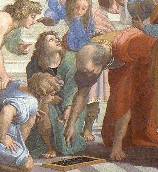 """Euclides em """"A escola de Atenas"""" - fresco de Raffaelo"""