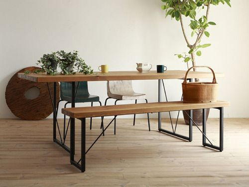 Love this idea for a kitchen table/office table: one bench two chairs <3