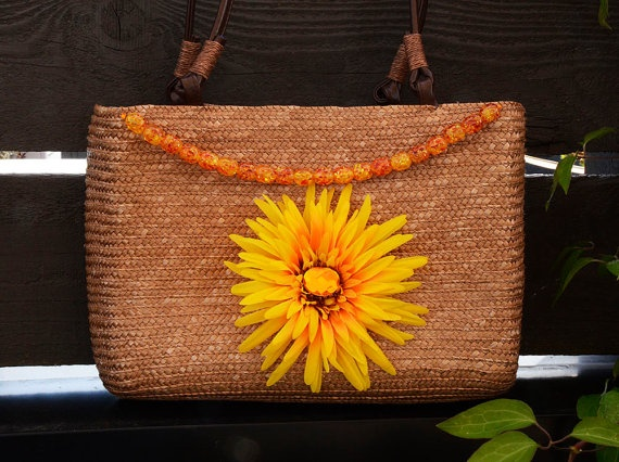Summer sunflower straw handbag with upcycled by creativedogstwo, $45.00