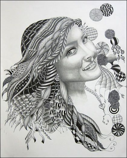 My sister! i drew her for a congressional art contest and won second place.