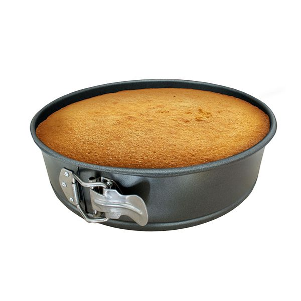 Spring cake pan with movable base
