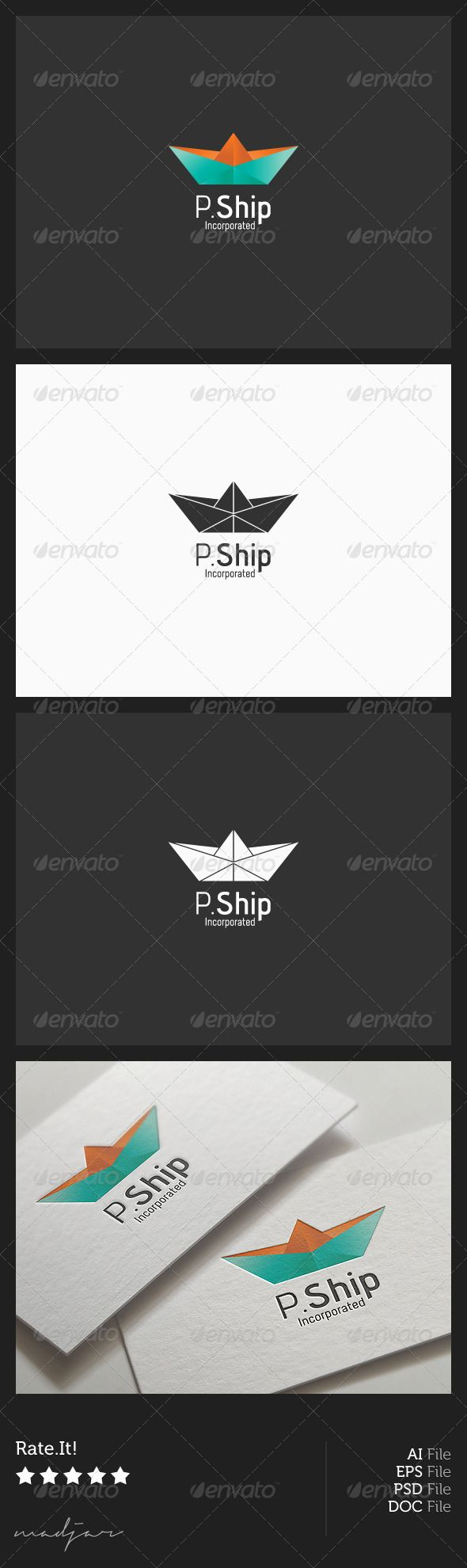 Paper Boat Logo  #GraphicRiver            Paper Boat / Logo (AI) (EPS) (PSD) Tempalte.   RGB Color Mode.  CMYK Color Mode.  Print-Ready Product.  Included:  .AI /