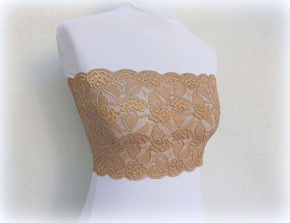 Gold Elastic Lace Bandeau Top. Floral lace by MissLaceAccessories