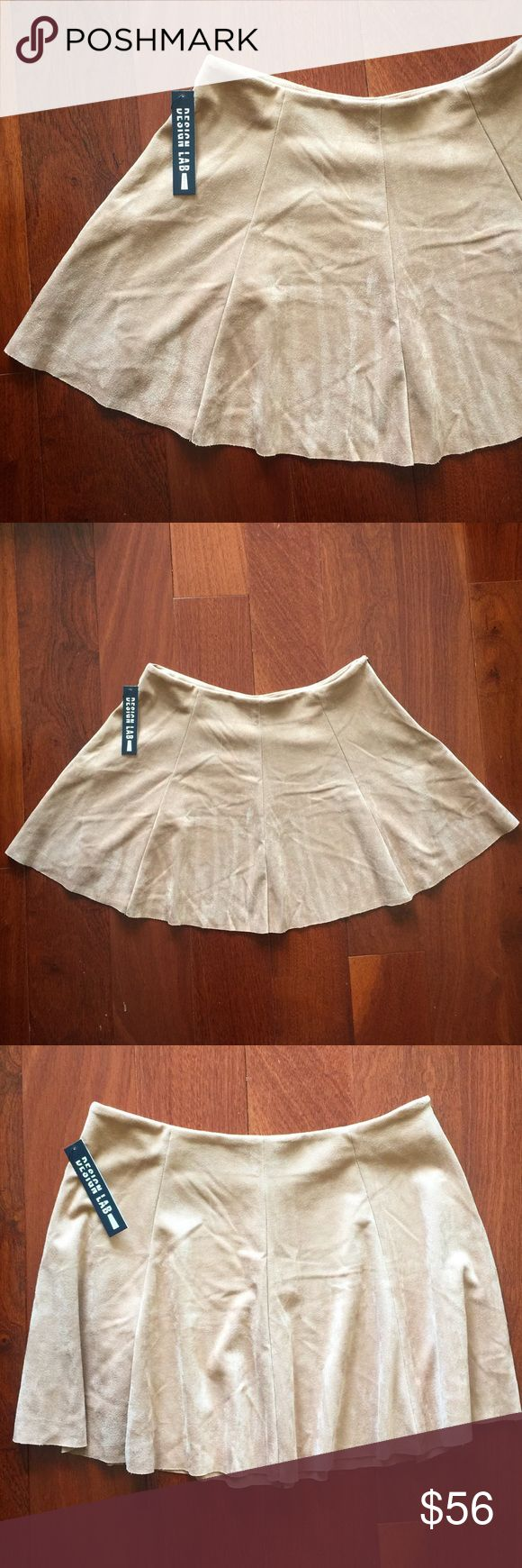 """🆕 Design Lab Faux Suede Tan Skirt New with tags. Beautiful """"J. Copper"""" faux suede tan skirt by Design Lab. Very soft and flowy. Side zipper. Size Large. 92% Polyester, 8% Spandex. Waist across: 15.5"""". Length: 14.5"""". Design Lab Skirts"""