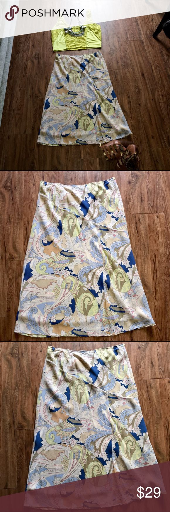 """LIMITED a-line Skirt This skirt is so pretty in person. The colors of deep blue, tan, sky blue, mint green, pumpkin & sage are so rich and warm. Pairs well with an warm colored blazer or cardigan 100% silk lining 100% polyester """"NWOT"""" The Limited Skirts A-Line or Full"""
