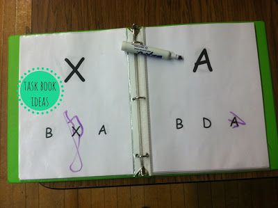 Literacy task book idea for letter matching and recognition. This is a great idea for the small photo albums that I have.