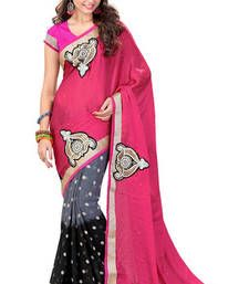 Buy Pink and Grey and Black embroidered georgette saree with blouse wedding-saree online