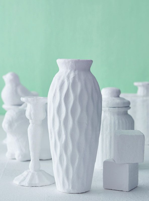 Transform ordinary items into designer pieces by covering them with plaster
