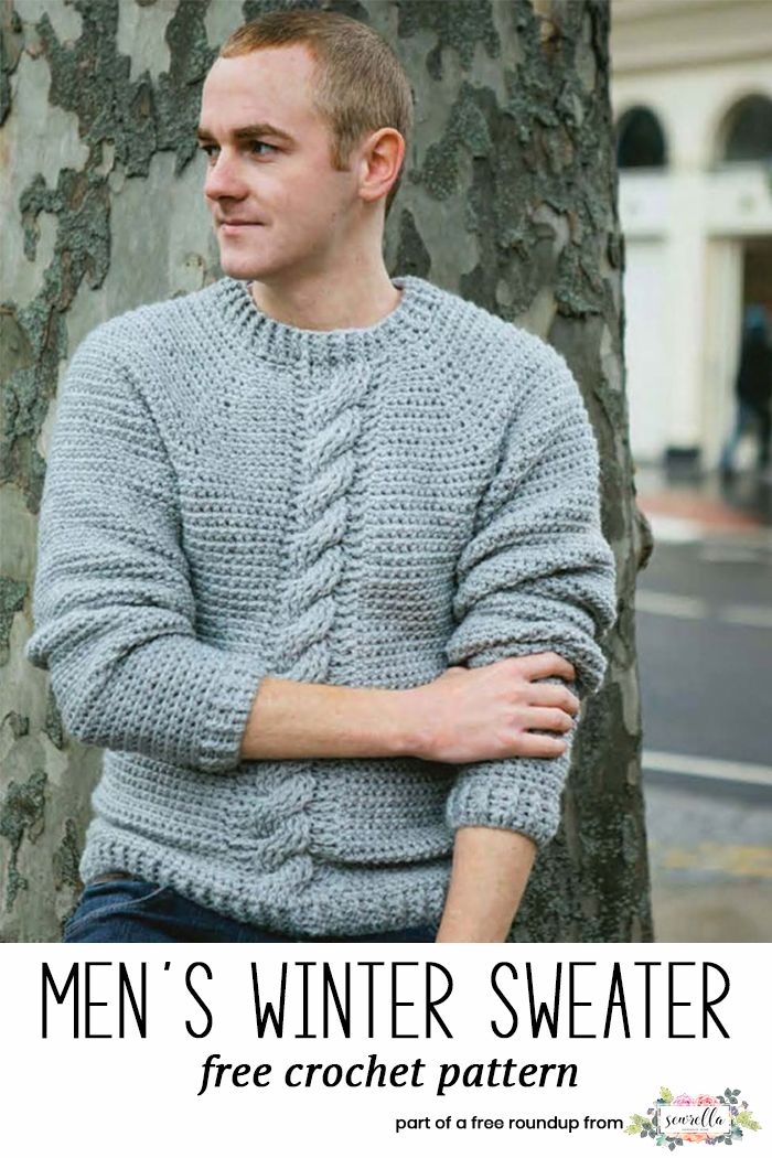 cc6ff9119 Get the free crochet pattern for this Crochet Winter Cabled Pullover Sweater  from Knitted Patterns featured in my husband-approved crochet sweaters for  men ...