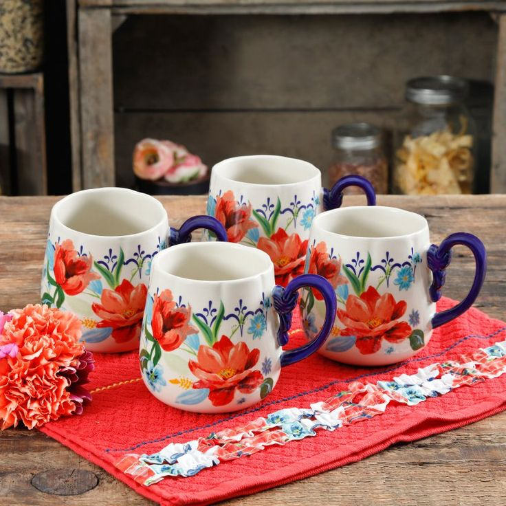 The Pioneer Woman Spring Bouquet 19 oz. Coffee Mugs Set