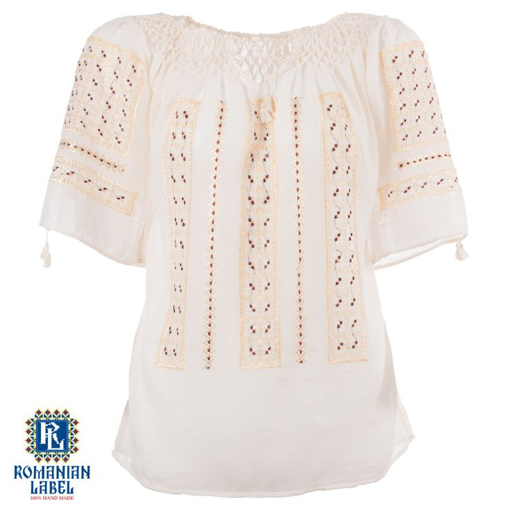 $142.48 A 100% hand made traditional blouse, exclusively tailored out of natural materials, such as ivory cotton and gold silk embroidery.