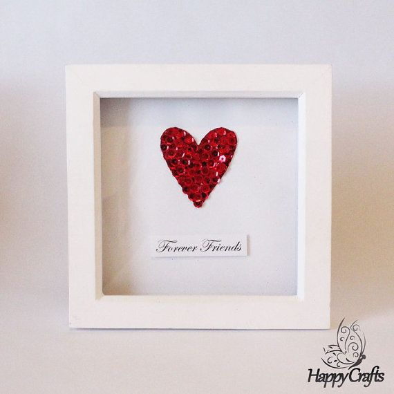 Sequin Heart Personalised Quote Picture Frame Red by HappyCraftsx