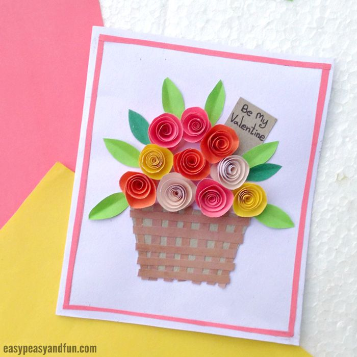 Flower Basket Paper Craft for Kids  by Andreja Vucajnk.. You can easily make the most beautiful card for Valentines or Mother's day! Follow our step by step tutorial that will show you how to make a DIY rolled paper roses Valentines Day Card. You won't believe how easy this Rolled Paper Roses Valentines Day Cards are to make.