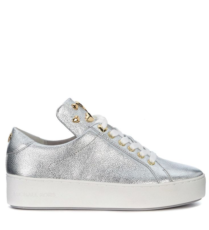 MICHAEL KORS | Michael Kors Michael Kors Mindy Silver Leather Sneakers With Hearts #Shoes #Sneakers #MICHAEL KORS