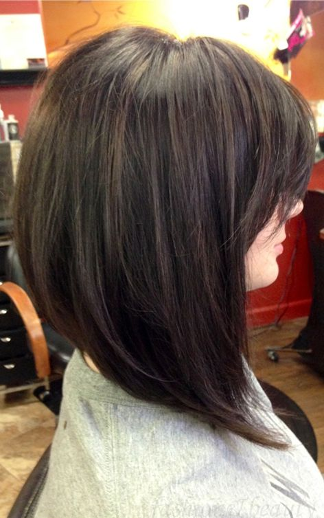 Long, asymmetric / angled bob with fringe #hair #brunette #lob