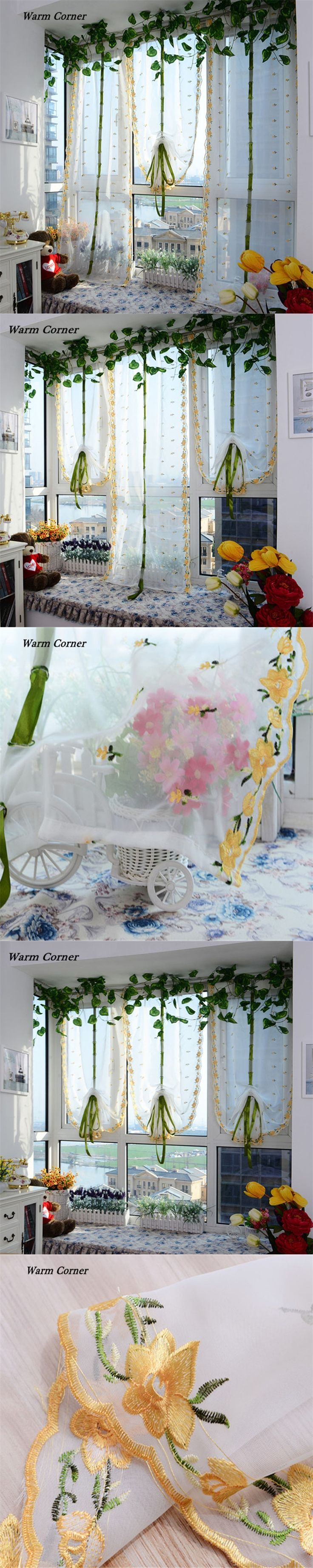 Warm Corner LM  Embroidered Flower Tulle Window Screens Door Balcony Curtain Panel Sheer Scarfs Free Shipping Sept 2
